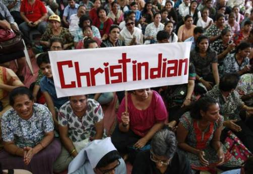 Protest dupa ce hindusi au batut crestini in vara anului 2015 (alt indicent) - Photo credit