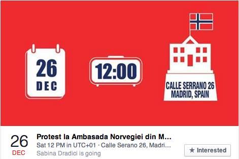 Protest la Ambasada Norvegiei din Madrid 26 decembrie