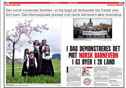 Norwegian newspapers on protests against Barnevernet