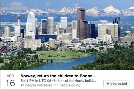 Protest on behalf of Bodnariu family Calgary Canada April 16th